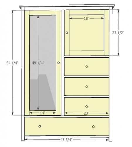 Ana White | Build a Mirrored Door Wardrobe | Free and Easy DIY Project and Furniture Plans