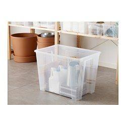 IKEA - САМЛА, Контейнер, прозрачный, , В этом контейнере удобно хранить сезонную одежду и обувь, спортивный инвентарь, садовые инструменты и чистящие средства.Прозрачный пластик позволяет видеть содержимое и не тратить время на поиски нужной вещи.