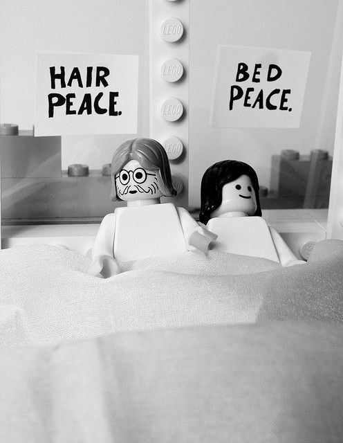 """A Lego recreation of John Lennon and Yoko Ono's 1969 """"Bed-In"""" in Amsterdam."""