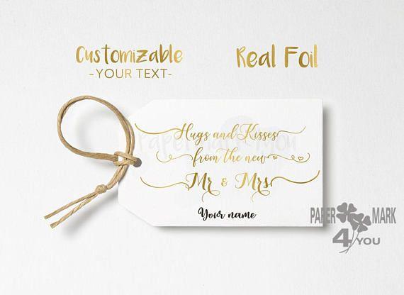 24 Real Gold Foil Tag_Hugs and kisses_ Foil Wedding Custom Tag