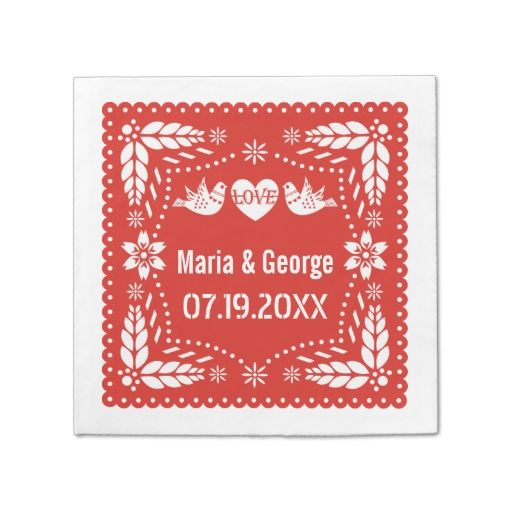 Papel picado love birds red wedding fiesta disposable napkin