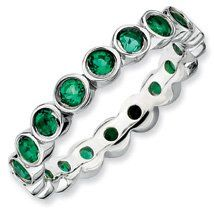 1.23ct Timeless Charism Silver Stackable Emerald Ring. Sizes 5-10 Available Jewelry Pot. $75.99. All Genuine Diamonds, Gemstones, Materials, and Precious Metals. Fabulous Promotions and Discounts!. Your item will be shipped the same or next weekday!. 30 Day Money Back Guarantee. 100% Satisfaction Guarantee. Questions? Call 866-923-4446