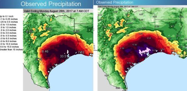 Las lluvias provocadas por el huracán Harvey obligan a rehace la escala de los mapas