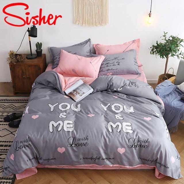LOVE Sweet Heart Duvet Quilt Cover Set Bedding Set Single Double King Pillowcase