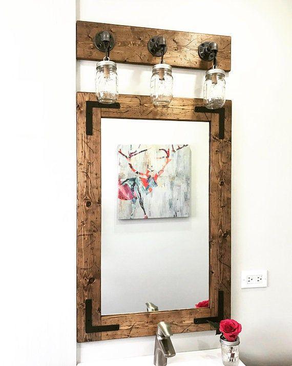 Rustic Distressed Mirror Wall Mirror Bathroom Mirror Rustic Etsy
