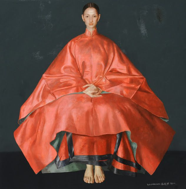 '' Red '' 2011  Oil on canvas,  54x54 inches by Lu Jian Jun.