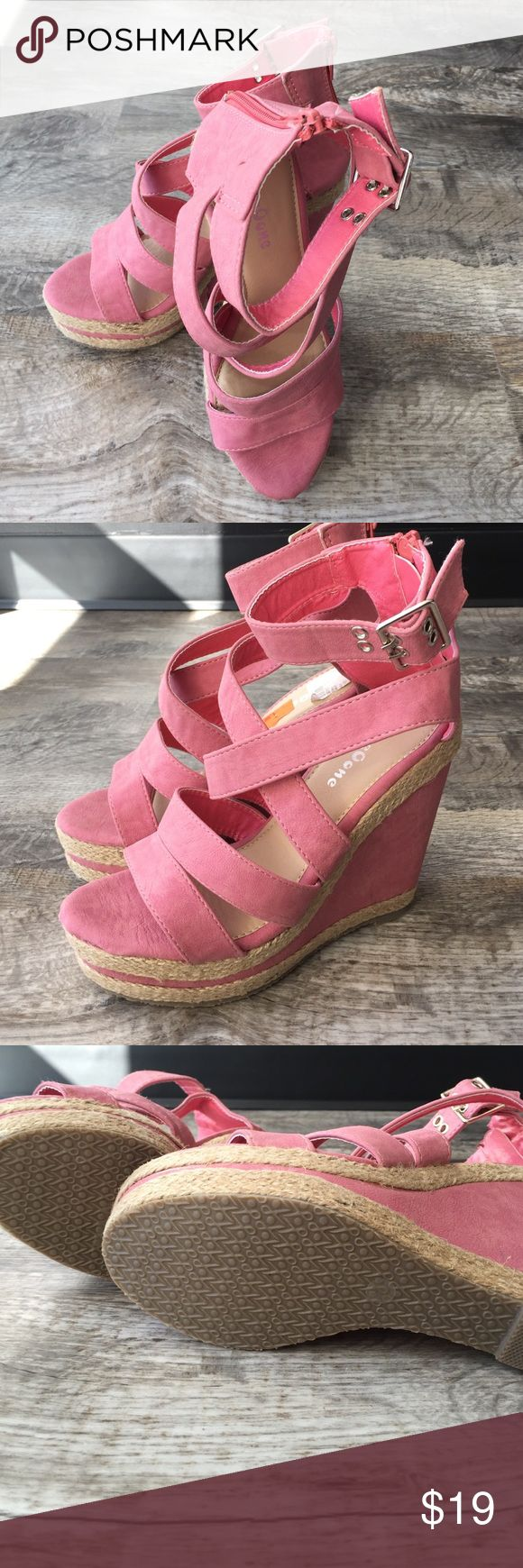 Am pink wedge heels sandals 5.5 new Am pink wedge heels sandals 5.5 new never worn oneoone Shoes
