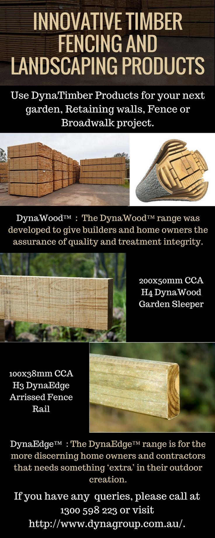 DynaTimber manufacturers have a wide range of timber products from a diverse selection of indigenous Australian Timber Sleepers including DynaEdge™ Sleepers and DynaWood™ Sleepers.