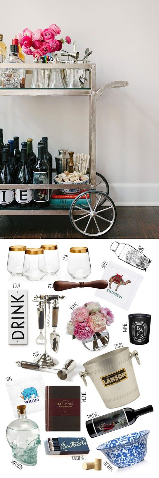 STYLE AND FLOWERS Bar cart essentials