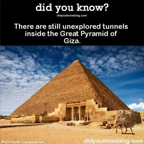 the history of the pyramids in egypt and some interesting facts about them The three pyramids in giza necropolis are the most famous egyptian pyramids but in fact, as many as about 140 pyramids in total have been discovered in the area of the ancient egypt.