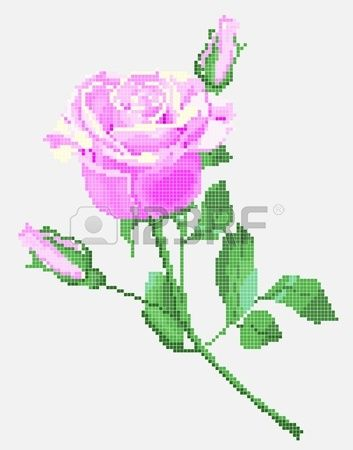 tradiční ukrajinské výšivky prvek růžové růže Stock vektor