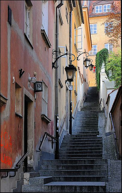 Stairs with lamp, Warsaw, Poland