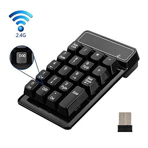 2.4G Wireless Number keyboard KeWalker 19 Keys Waterproof Wireless Number Keypad with Mini USB Receiver, for Laptop / Notebook/Mac/Macbook, Compatible with Windows System  Easy Setup:Only need to install the mini USB receiver to the computer USB port can be used  Mechanical keyboard touch: the use of special silicone, imitate the mechanical keyboard touch. easy to use  Waterproof design: keyboard surface with waterproof design, the use of more secure  Special key design: unique 000 but...