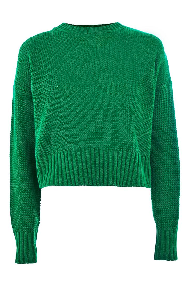 Curved Hem Cropped Sweater