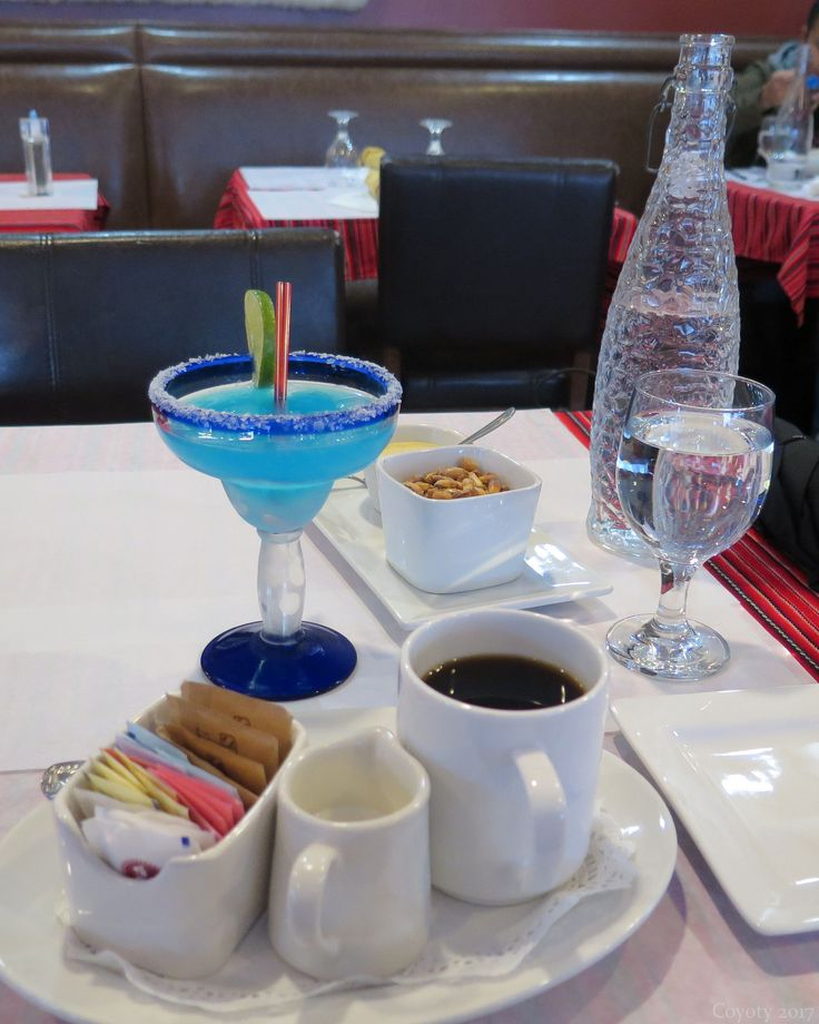 https://flic.kr/p/UWRE6h | Blue margarita, coffee, water, and cancha | Cancha is fried Peruvian corn with a sauce put out on tables, like bar food.  At Cora Cora Restaurant in West Hartford, CT.