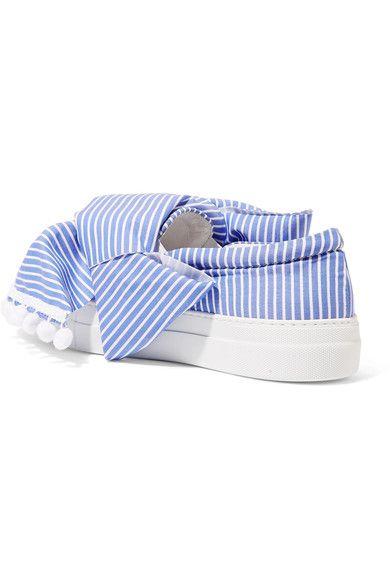 Joshua Sanders - Knotted Striped Cotton-poplin Slip-on Sneakers - Blue
