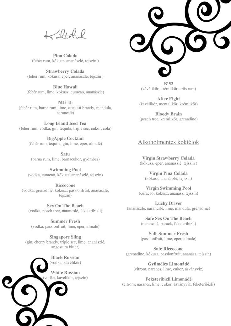 cocktail offers in the same wedding design/ koktéllap az esküvőre