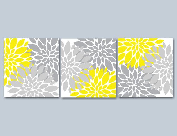 Yellow Gray Floral Wall ArtGray Yellow Wall by SweetBloomsDecor