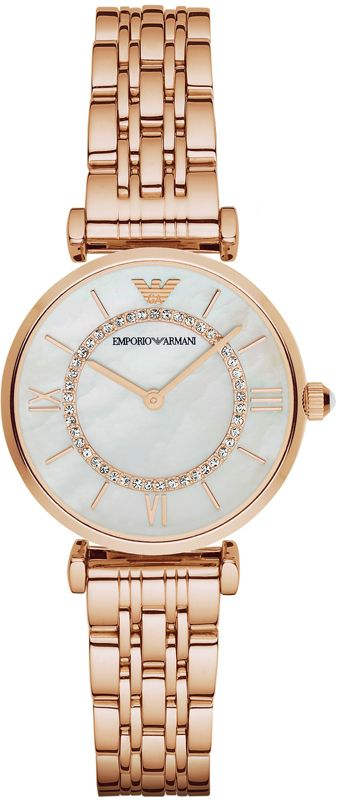 Emporio Armani Quartz Mother of Pearl Dial Rose Gold Tone Stainless Steel Watch# AR1909 (Women Watch)