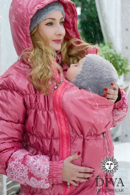 3in1 Babywearing Winter Coat Diva Corallo.  Winter coat for front carrying, regular use or during pregnancy.
