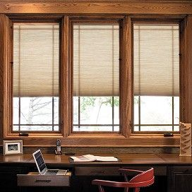 Pella designer series casement wood windows with shades for Best window treatments for casement windows