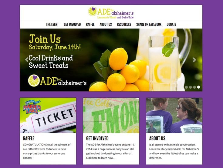 Ade for Alzheimer's fundraiser website, design by Tall Girls Design    http://www.ade4alz.com