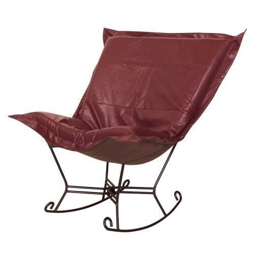 Howard Elliott Avanti Scroll Puff Rocker with Mahogany Frame 40 Tall Polyurethane Upholstered Rocking Chair with Mahogany Frame (