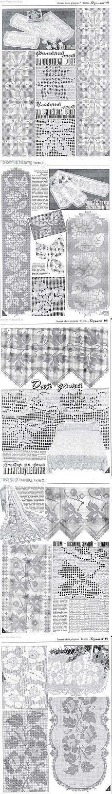 Филейное вязание ; филейный лист на плотном фоне и плотный лист на филейном фоне .