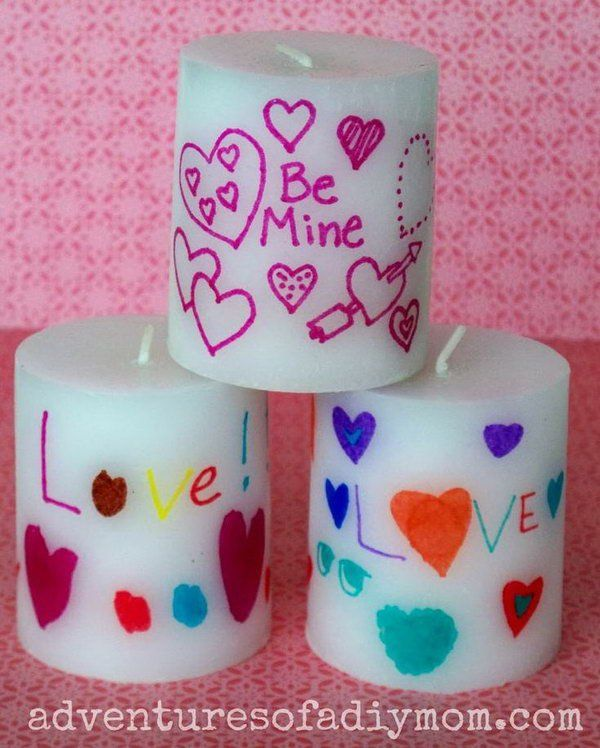 Personalized Valentines Candles. These DIY candles are super easy and fun to make and make a cool gift. It looks amazing as it burns, and leave the room filled with a cozy and romantic air. http://hative.com/creative-diy-holiday-gift-ideas-for-parents-from-kids/