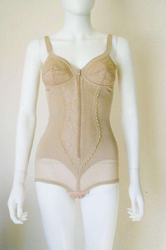 Vintage Lingerie / Nude semi sheer bodyshaper by DEEEPWATERVINTAGE