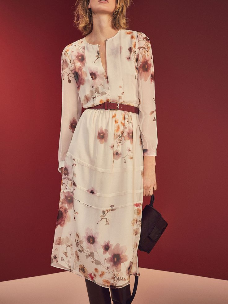 Autumn winter 2016 WOMEN´s FLORAL PRINT SILK DRESS at Massimo Dutti for 180. Effortless elegance!