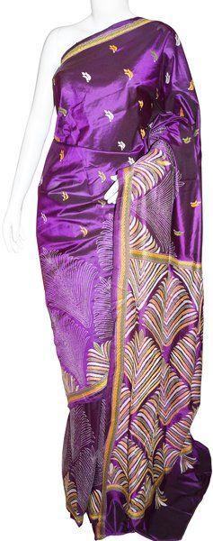 Kantha Silk Purple Saree with Blouse