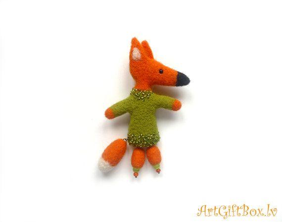 Brooch red fox felted brooch  wool brooch от ARTGIFTBOX на Etsy