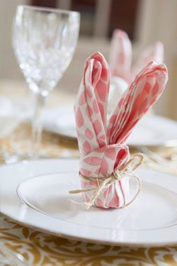 Bunny Napkin Fold   Hen House Linens #napkinfold