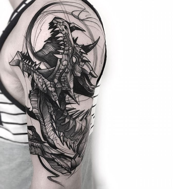 Sketch black work dragon tattoo sleeve by frankcarrilho