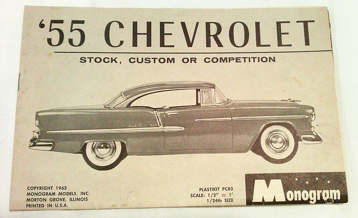 Chevrolet '55 Monogram Model Instruction Pages Only Stock Custom or Competition