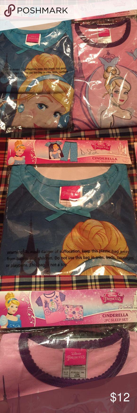 New Cinderella PJ's, Girls Small (6/6x),  set of 2 Set of 2 Cinderella PJ's, size Small (6-6x). Pink set is shorts and tee shirt and blue set is pants and tee shirt. Great for Christmas!! Disney Pajamas Pajama Sets