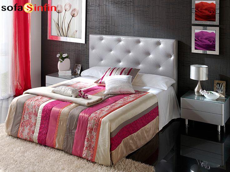 Cabecero de cama tapizado en piel y polipel, modelo Ana fabricado Dupen en Sofassinfin.es