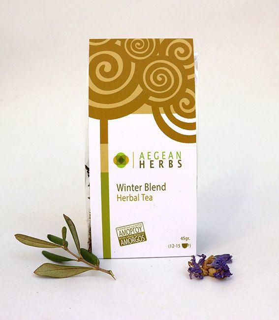 Winter Blend Herbal Tea. Natural Tisane. Sage, Olive, Mallow, St. John's Wort Tea. Hrebs form Amorgos, Greece.  Natural Farming