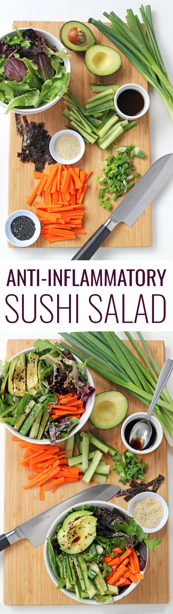 Anti-inflammatory Sushi Salad Recipe - such a delicious and easy meal, especially if you're feeling lazy and don't want to roll sushi by hand!