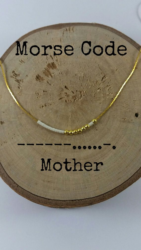 MOTHER Morse Code Necklaces Secret Message Dainty by KukanaJewelry