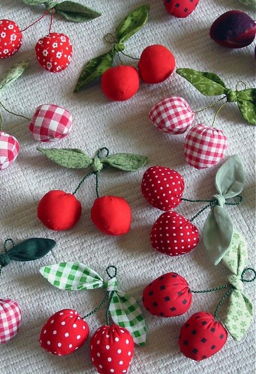 cute sewing project - fabric cherries - shouldn't be too hard to figure out how to make these!