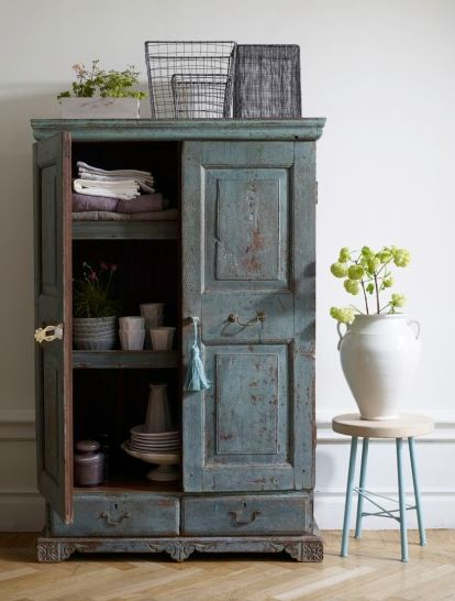 Cupboard... I find myself drawn to this blue recently. I very nearly bought a cupboard on the spot a week ago just because of this same color and distressing! I can't afford to redo my home every time I have fall in love with a color tho :-)