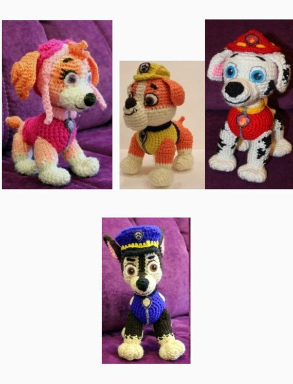 Paw Patrol Marshal Chase Skye Rubble crochet by Ambercraftstore