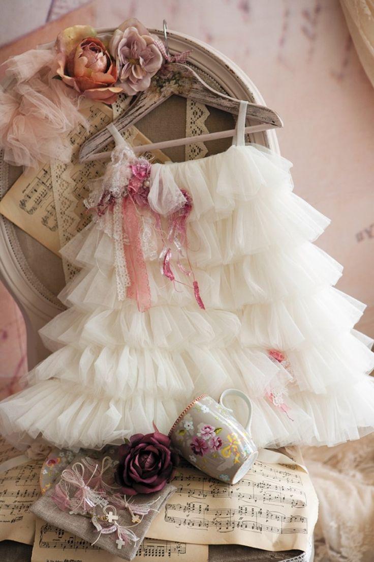 Φορεματάκι βάπτισης Ιβουάρ Με Τούλι Dolce Bambini 13104-1