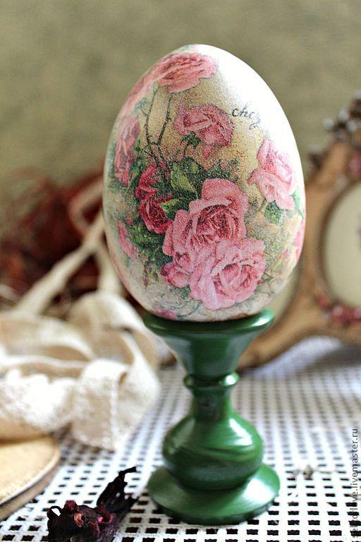 яйцо РОЗОВЫЕ РОЗЫ - бледно-розовый,яйцо,яйцо пасхальное,яйцо на подставке