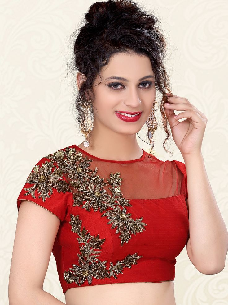 Red Nice Raw Silk Designer Ready Made Blouse For price or detail do whatsApp +91-9913433322