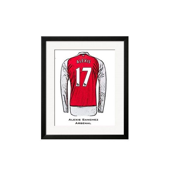 ALEXIS SANCHEZ 17 ARSENAL Home Shirt Framed Print by NoirBlancRouge on Etsy