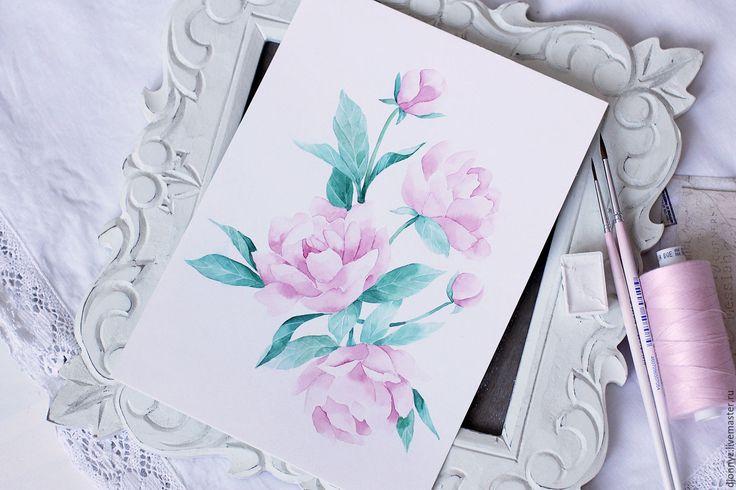 """Купить Акварели """"Pion"""" - розовый, акварельная живопись, акварельный рисунок, акварель, акварельные цветы, пионы"""