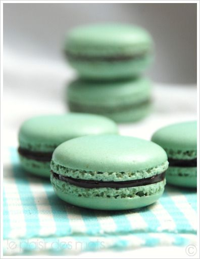 macaroons with chocolate mint